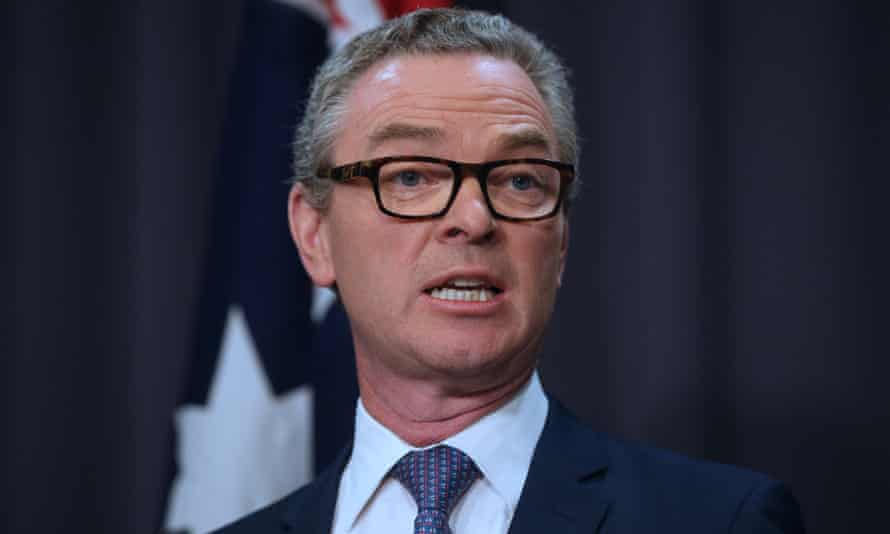 Christopher Pyne at a press conference at parliament house Canberra