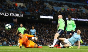 Phil Foden has a shot blocked by Neil Etheridge, who made a series of saves to deny the youngster.