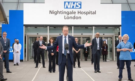 Matt Hancock pictured at the opening of the NHS Nightingale hospital at the ExCel centre in London on Friday.