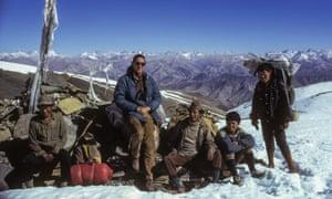 Peter Matthiessen and Sherpa staff on Namgung Pass, Upper Dolpo, December 1973.
