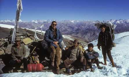 Peter Matthiessen and Sherpa staff on Namgung Pass, Upper Dolpo, December 1973.