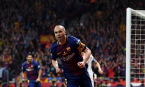 Andres Iniesta celebrates scoring.