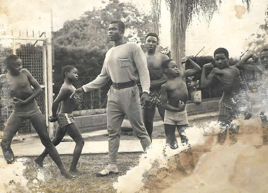 Samson 'Sunlight' Okiror during a training session with children, in Uganda in the 1970s.