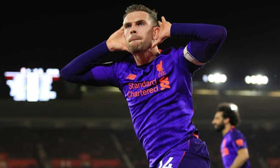 Jordan Henderson celebrates scoring for Liverpool at Southampton in April 2019.