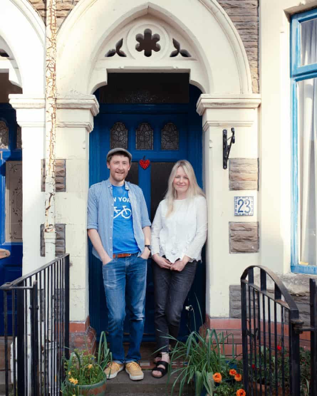 Eoghan and Hannah Walsh on their doorstep
