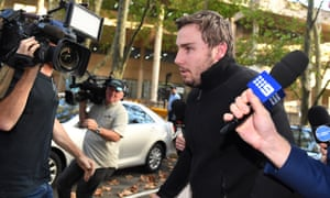 Adam Cranston leaves AFP offices in Sydney on Thursday.