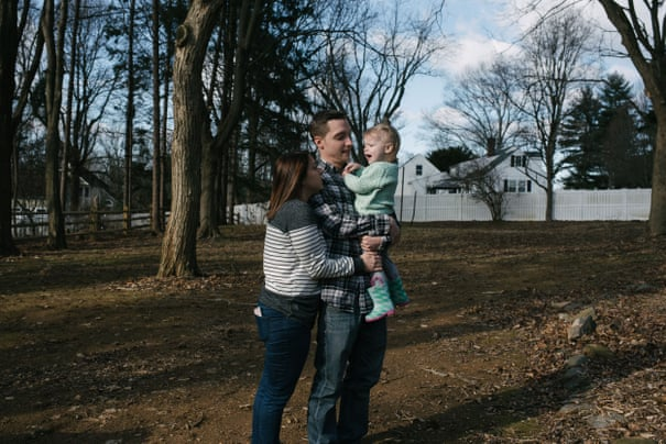 Erica Tarr, 31, left, and her husband Jon Tarr, 31, play with their daughter, Evie, 2, at their home in Glen Mills, PA. on Thursday, January 16, 2020. The Tarr family have been dealing with contaminated water in their home and believe it has to do with the Mariner East Pipeline being built near her house.