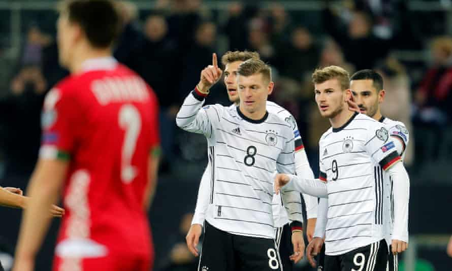 Toni Kroos celebrates his first, and Germany's third, goal in Mönchengladbach.