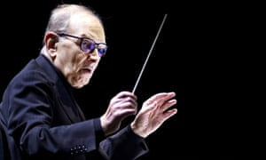 Ennio Morricone conducting in Amsterdam, the Netherlands, in 2016.
