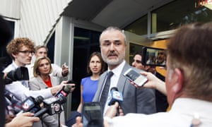 Gawker founder Nick Denton speaks to the media during the invasion-of-privacy case brought by Hulk Hogan.