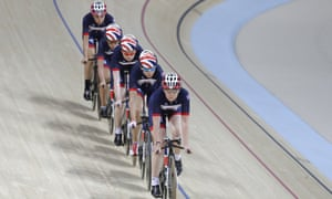 Members of the GB women's track cycling team.