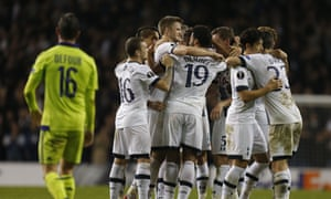 Mousa Dembélé is mobbed by his team-mates after his late screamer gave against Anderlecht gave Tottenham Hotspur a crucial victory in Europa League Group J.