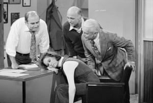 In a scene from the episode Mary's Insomnia with Ed Asner, Gavin MacLeod and Ted Knight