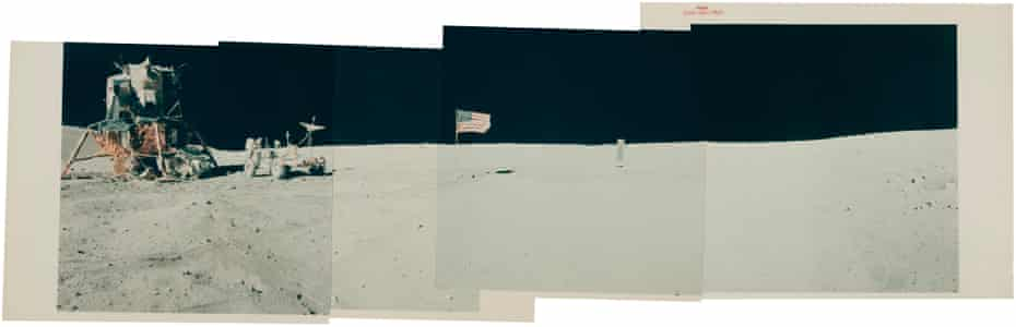 Panoramic view [Mosaic] of the Descartes landing site with the LM Orion, John Young, the Rover, the US flag and the Solar Wind Collector, April 16-27, 1972