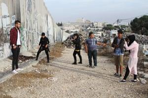 Young people at Aida refugee camp near Bethlehem