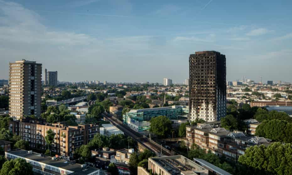 The devastated Grenfell Tower in west London.