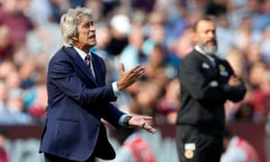 Manuel Pellegrini during the 1-0 home defeat to Wolves, which left West Ham bottom of the league with four losses from four.
