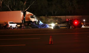 Eastern Freeway accident: emergency services at the scene of the crash near the Chandler Highway in Kew in Melbourne. Four Victoria police officers were killed in the collision.