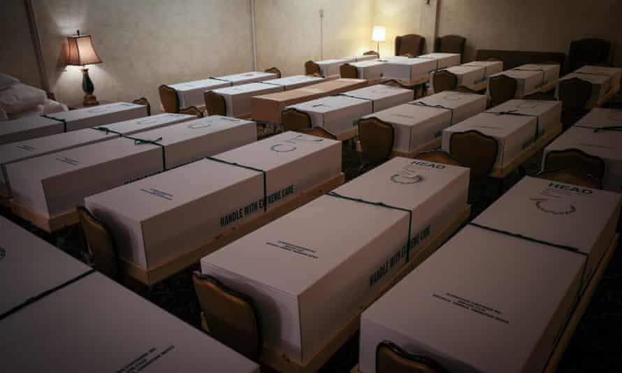 Caskets of Covid-19 victims at Gerard J Neufeld funeral home in Queens, New York City, on 29 April, at the height of the pandemic in the city.