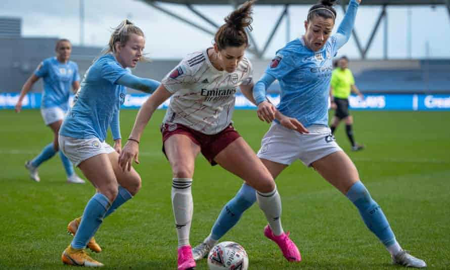Manchester City in Women's Super League action against Arsenal last month. Neither club will be playing this weekend.