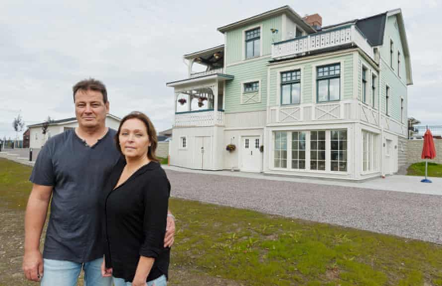 Margot Isaksson and husband Mikael in Gallivare, their home's new home.