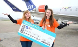 'Don't underestimate the kindness of strangers – and the eagerness of marketing teams.' Pictured: Harriet Trayling (right) and her friend Jo Mawdsley.