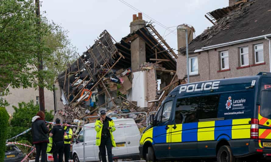 Emergency workers at the scene of the gas explosion