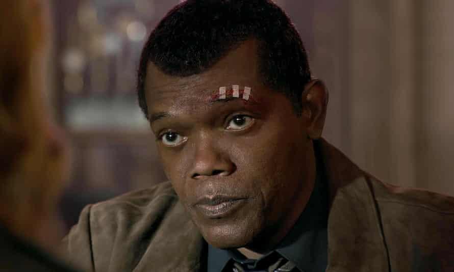 Digitally regressed … Samuel L Jackson as the youthful Nick Fury.