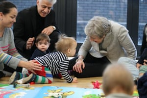 London, England The prime minister, Theresa May, joins a parent and baby group during a visit to the Kentish Town health centre.
