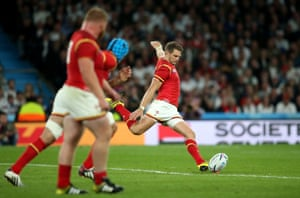 Dan Biggar of Wales kicks the winning penalty.