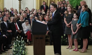 Justice Brett Kavanaugh speak during the ceremonial swearing-in ceremony in the East Room on Monday.