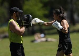 Boxer practising