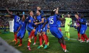The French players celebrate after reaching the final.