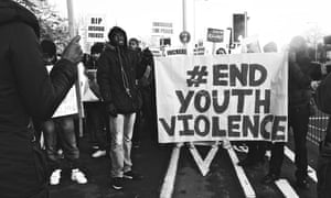 Young people protest against violence.