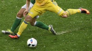 Ukraine's forward Yevhen Seleznyov controls the ball during their rain-affected Group C defeat to Northern Ireland in Lyon