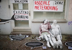 Lifesize dolls and banners at a protest against rising rents and gentrification in Friedrichshain in February 2019.