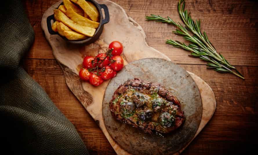 Steak dish from the hotel's Marco Pierre White Chop House menu. New Road Hotel, Whitechapel, London.