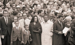 Coretta Scott King leads a march of some 10,000 mourners in Memphis, four days after King's death.