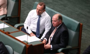 Tony Abbott talks with Russell Broadbent.