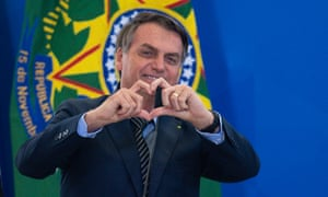 President Jair Bolsonaro shared a video on WhatsApp in support of the demonstrations which said: 'He is fighting the corrupt and murderous left for us.'