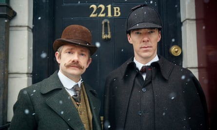 Sherlock: The Abominable Bride features Martin Freeman as Dr Watson (left) and Benedict Cumberatch as Holmes.