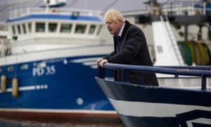 Boris Johnson aboard a trawler during a visit to Peterhead in September