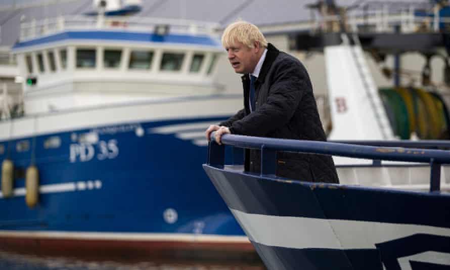 Boris Johnson aboard a trawler during a visit to Peterhead in September