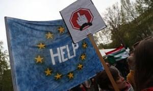 Demonstrators in Budapest protest against Viktor Orbán