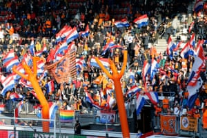Netherlands fans at the AFAS Stadium fans in Alkmaar in April 2019, watching their side beat Chile 7-0.