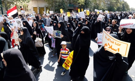 Iranians join a demonstration against Saudi Arabia in Tehran after Friday prayers.