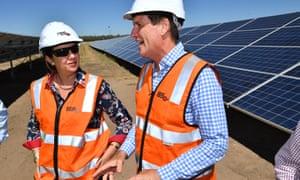 Queensland premier Annastacia Palaszczuk with the energy minister Anthony Lynham.