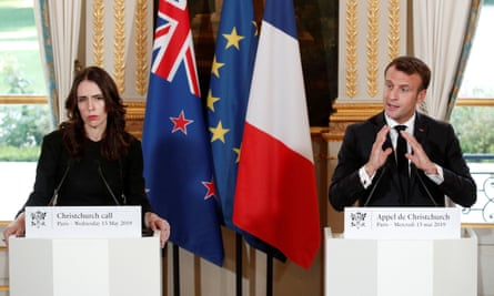 French president Emmanuel Macron and New Zealand's prime minister Jacinda Ardern hold a news conference during the Christchurch Call summit.
