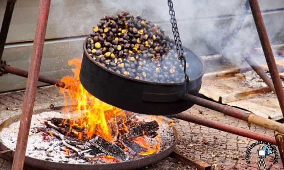 Pan of chestnuts at Fiera del Marrone, Cuneo,