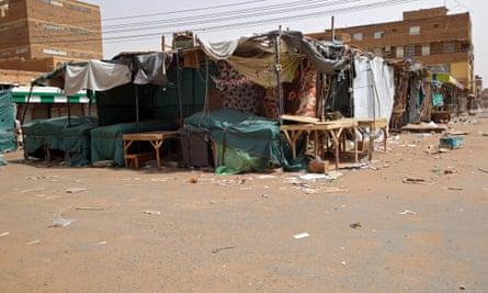 Closed stalls in an empty street in the Omdurman market, near Khartoum, Sudan